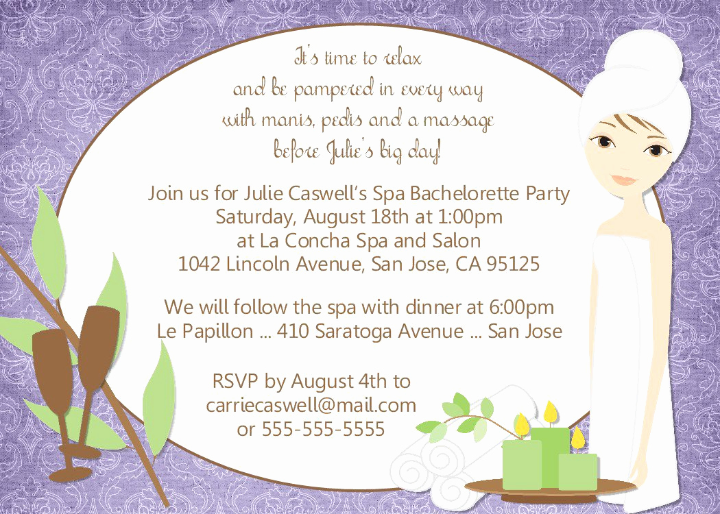 Invitation Wording for Parties Awesome Spa Bachelorette Party Invitation