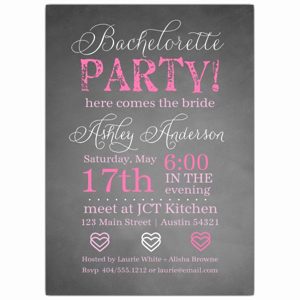 Invitation Wording for Parties Beautiful Chalkie Bachelorette Invitations
