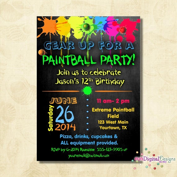 Invitation Wording for Parties Fresh Birthday Paintball Party Invitation Birthday Party Boys