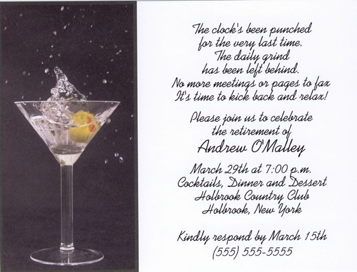 Invitation Wording for Parties Lovely Martini toast Retirement Party Invitations