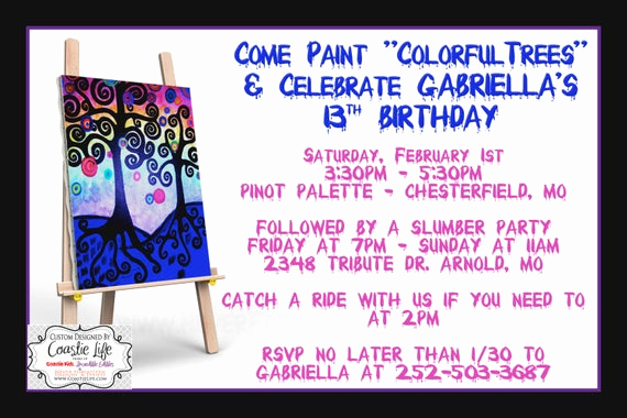Invitation Wording for Parties Luxury Painting Party Invitation for Girls Night Out and Birthday