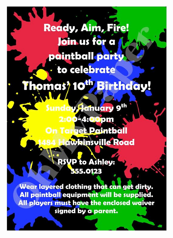 Invitation Wording for Parties New Paintball Party Invitations Wording