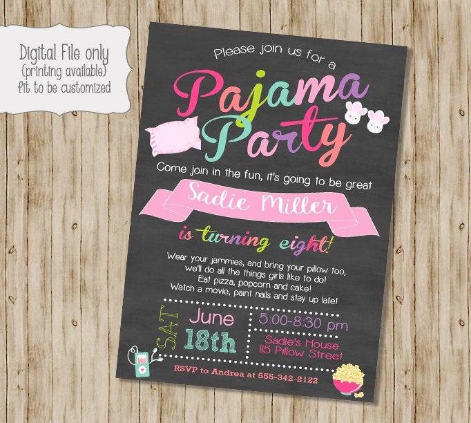 Invitation Wording for Parties New Pajamas Birthday Invitation Slumber Party Invitation Pajama