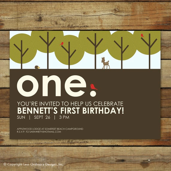 Invitation Wording for Parties Unique forest First Birthday Party Invitation Woodland forest Party