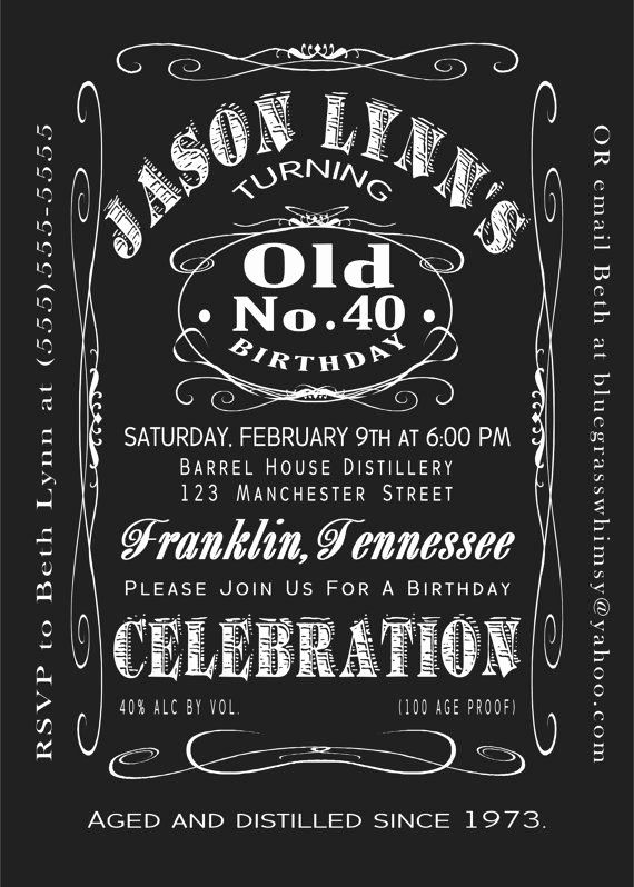 Jack Daniels Birthday Invitation Awesome 40th Birthday Jack Daniels Whiskey Label Invitation 5x7 by