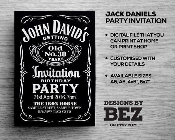 Jack Daniels Birthday Invitation Elegant Etsy Jack O Connell and Parties On Pinterest