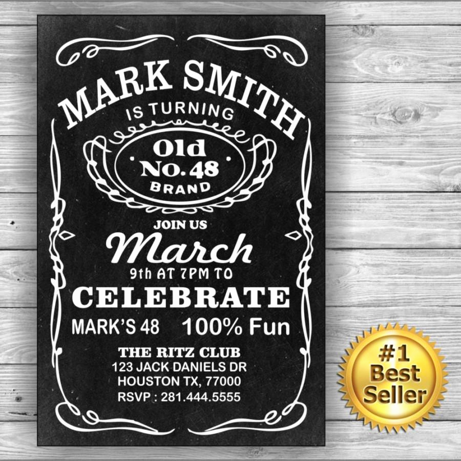 Jack Daniels Birthday Invitation Fresh Jack Daniels Him Her Birthday Card Invitation Label
