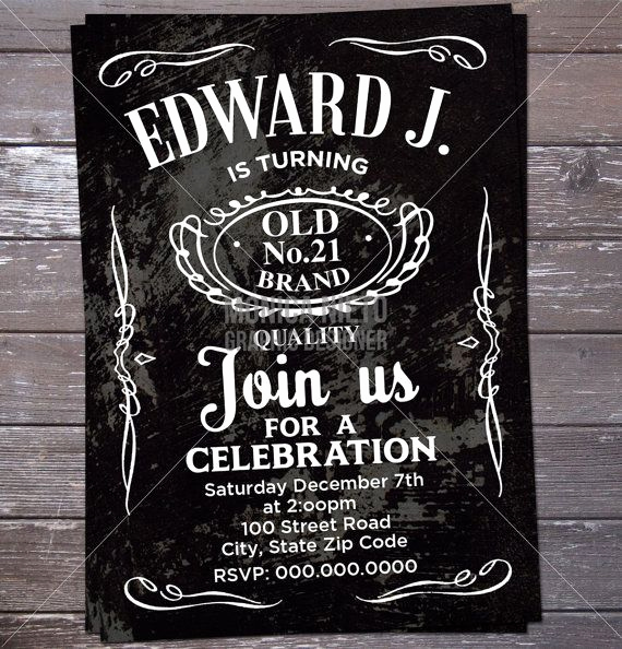 Jack Daniels Birthday Invitation Inspirational Printable Jack Daniels Label Inspired 21st Birthday