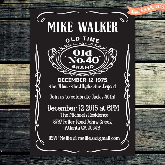 Jack Daniels Birthday Invitation Luxury Jack Daniels Birthday Invitation Chalkboard by