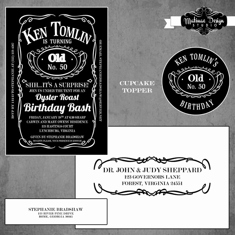 Jack Daniels Birthday Invitation Luxury Jack Daniels Inspired Birthday Invitation with