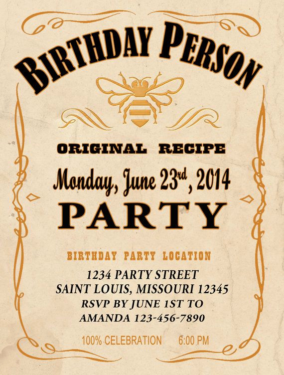 Jack Daniels Invitation Template Free Fresh Honey Style Jack Daniels Whiskey Birthday Invitation Pdf