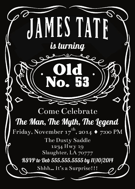 Jack Daniels Invitation Template Free Fresh Items Similar to Printable Jack Birthday Party Invitation