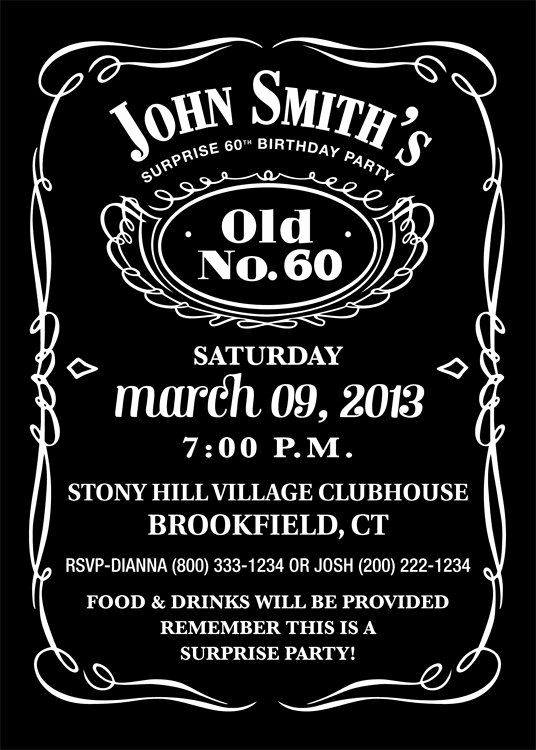 Jack Daniels Invitation Template Free Inspirational Jack Daniels Inspired Invitation Personalized Printable