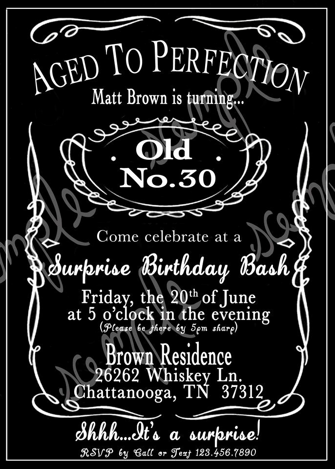 Jack Daniels Invitation Template Free Luxury Adult Black and White Whiskey 30th 40th 50th Birthday