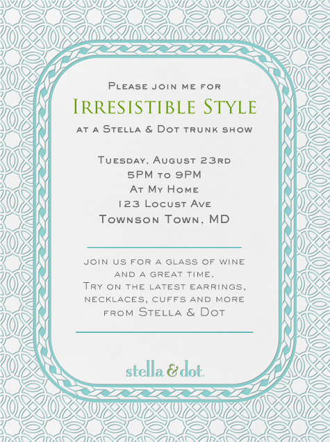 "Jewelry Party Invitation Template Beautiful ""stella & Dot Filigree Teal "" Invitation by Stella and"