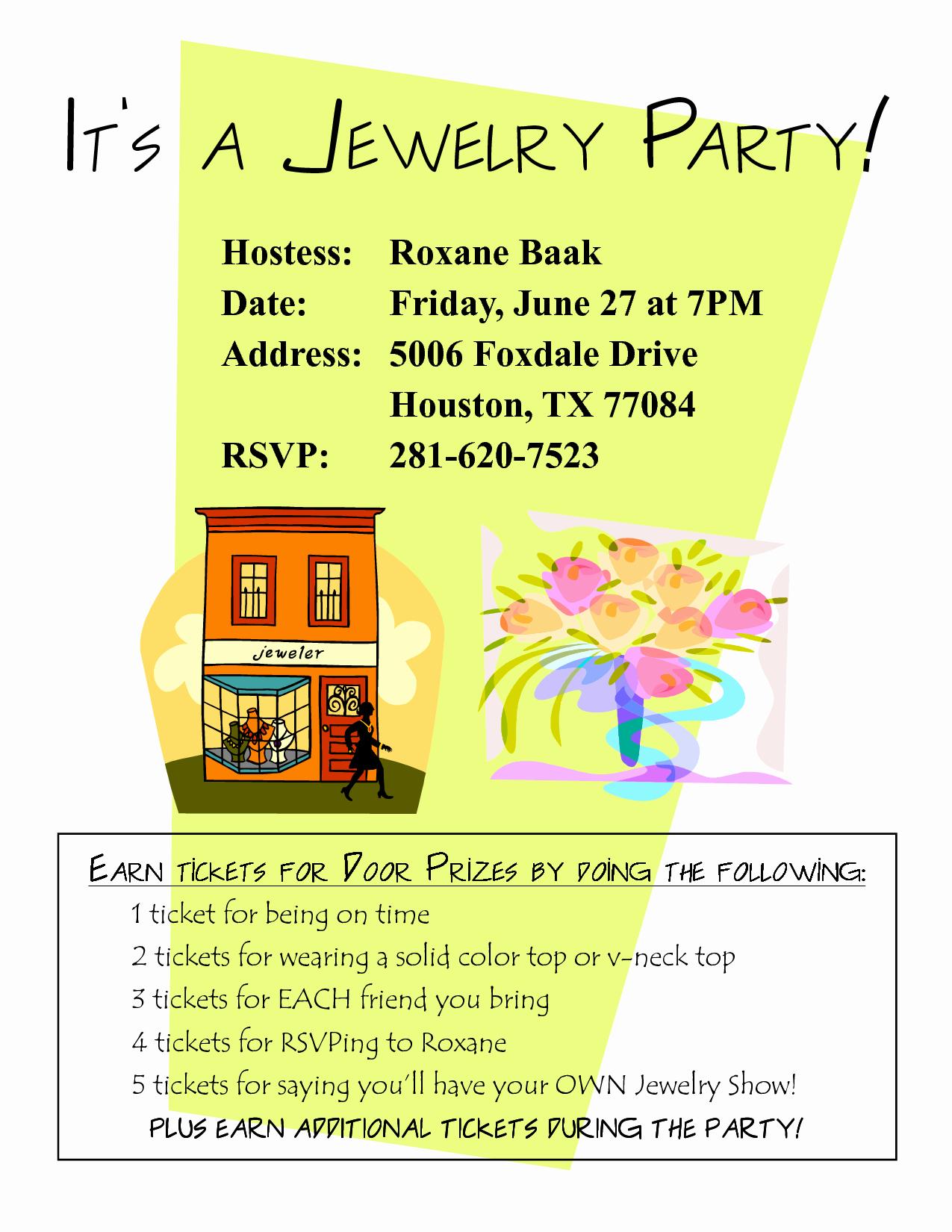 Jewelry Party Invitation Template Unique Sample Jewelry Party Invitation