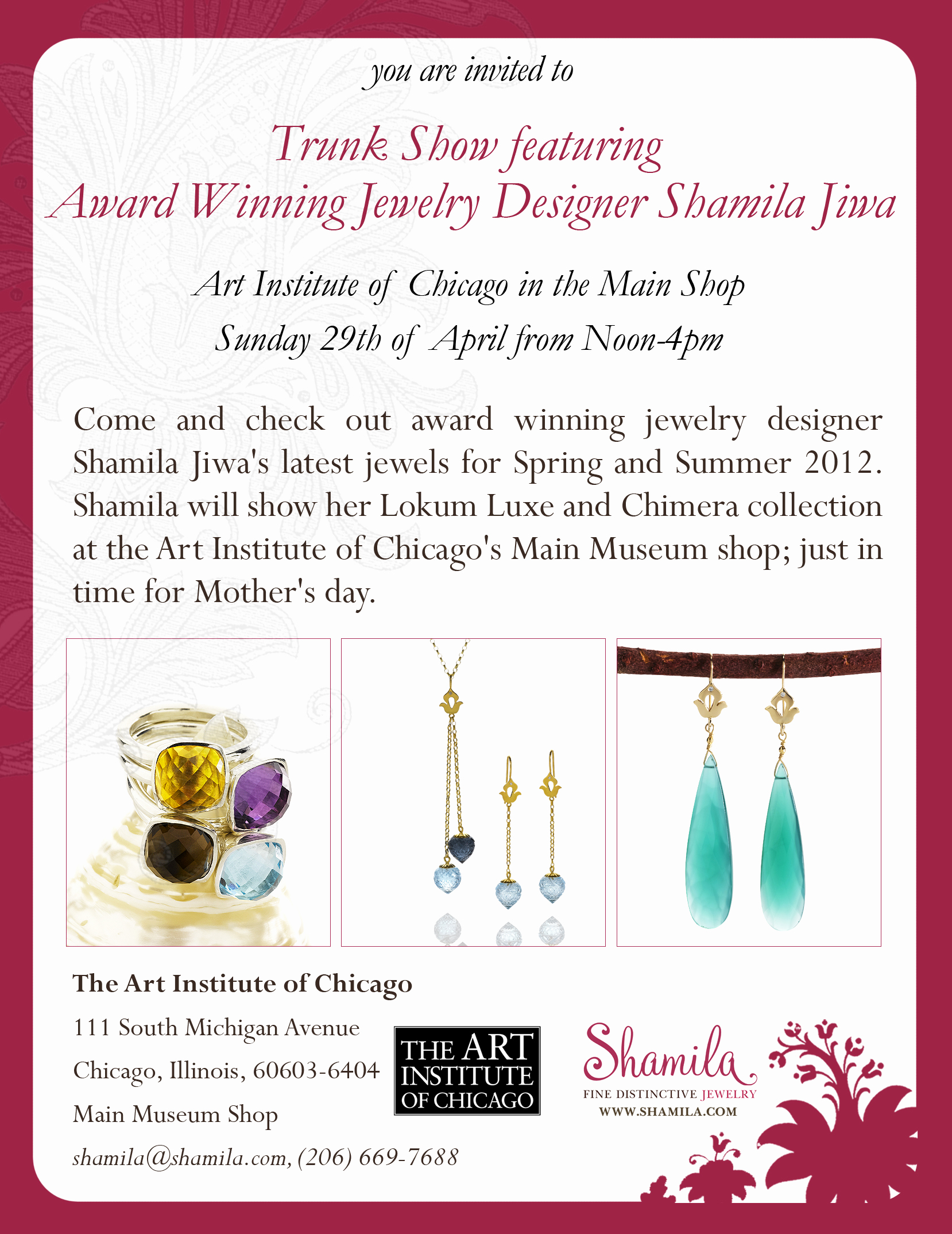 Jewelry Trunk Show Invitation Awesome atelier Shamila