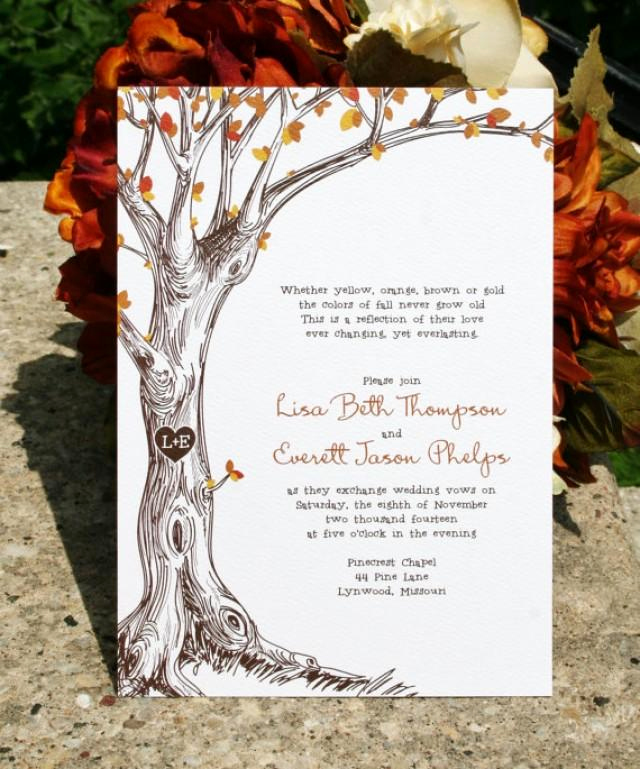 Jewelry Trunk Show Invitation Sample Awesome Fall Wedding Invitation Sketched Fall Tree with Carved