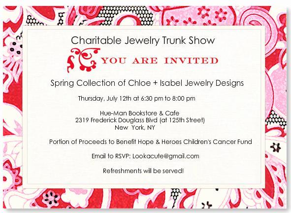 Jewelry Trunk Show Invitation Sample Elegant Charity
