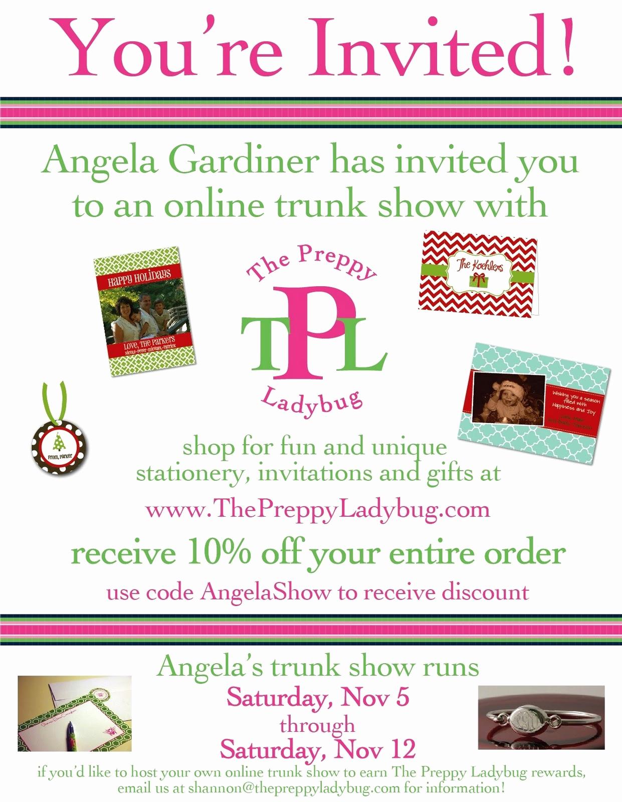 trunk show invitation wording