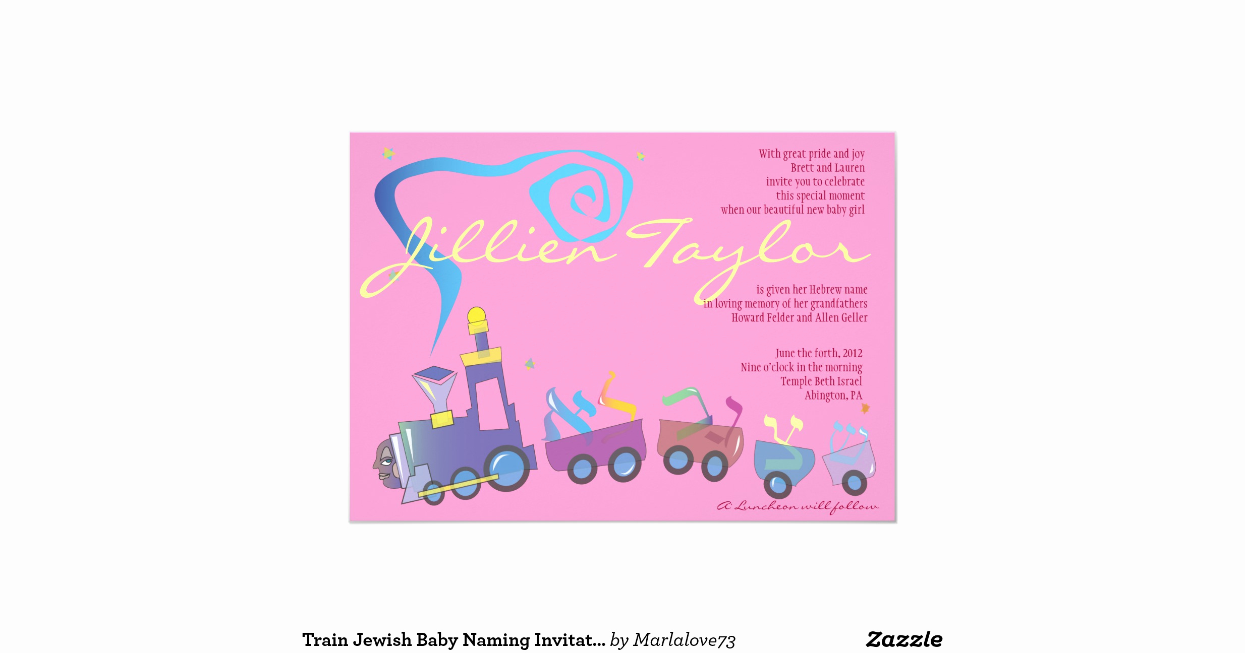 Jewish Baby Naming Invitation Awesome Train Jewish Baby Naming Invitation Hebrew Girl