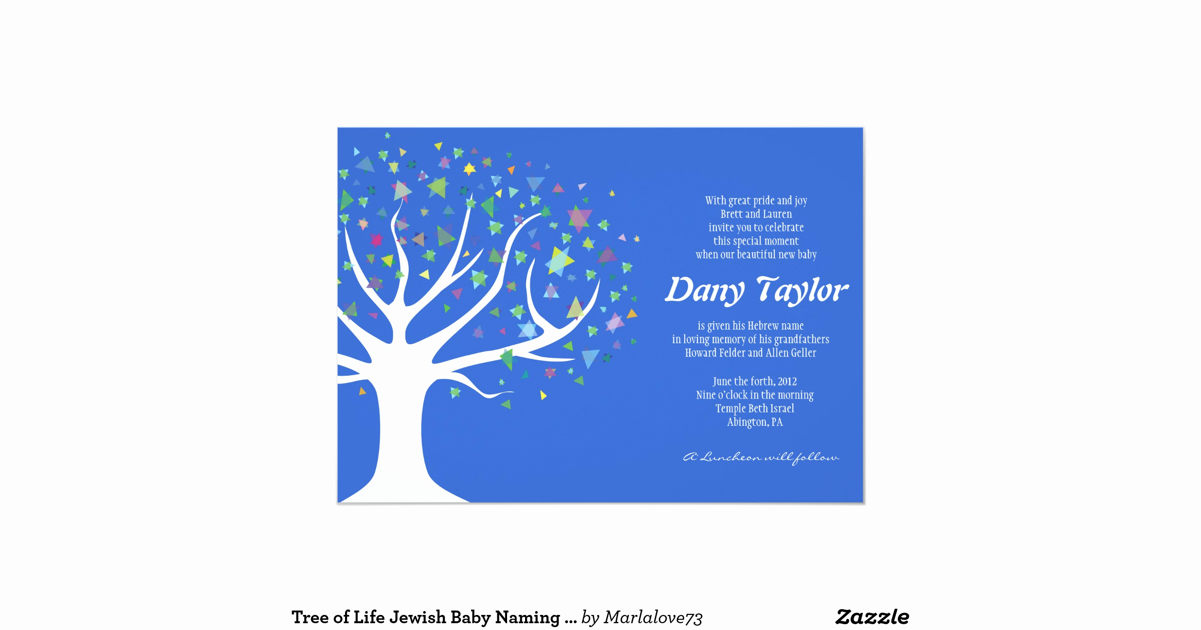 Jewish Baby Naming Invitation Awesome Tree Of Life Jewish Baby Naming Invitation Boy