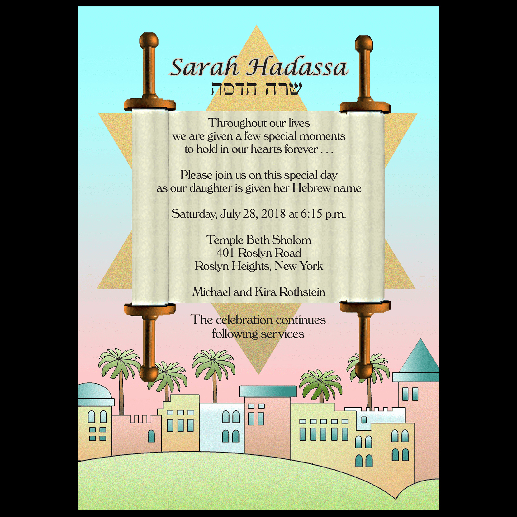 Jewish Baby Naming Invitation Beautiful Baby Naming Invitation Style Bn 03sr ⋆ Ipv Studio