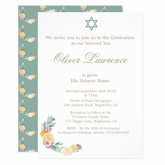 Jewish Baby Naming Invitation Lovely Baby Naming Ceremony Hebrew Boy Invitation
