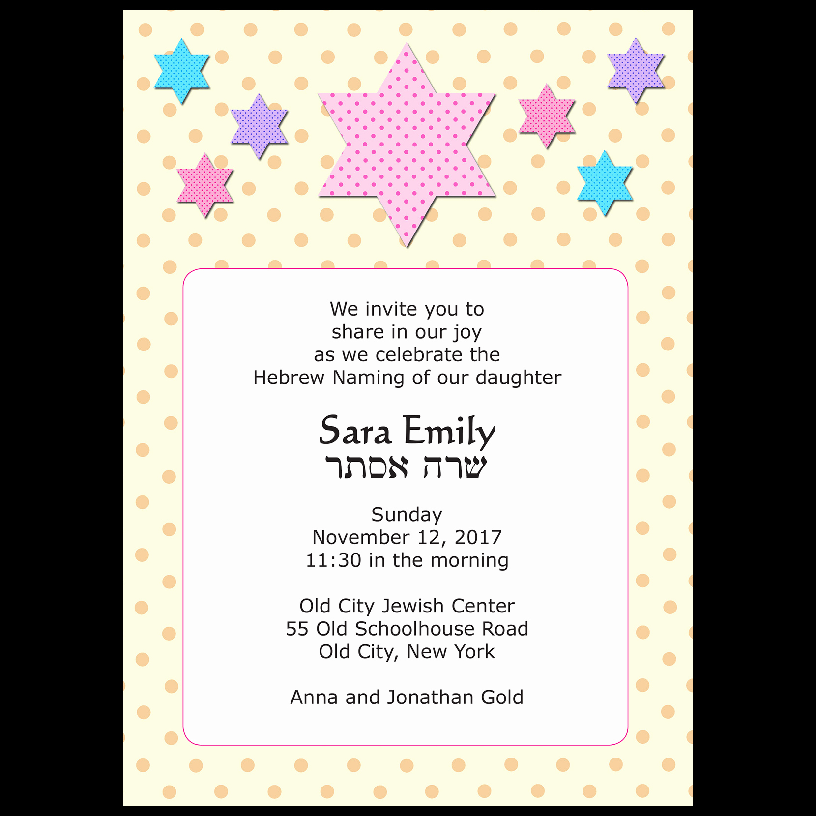 Jewish Baby Naming Invitation Unique Baby Naming Invitation Style Bn 17 ⋆ Ipv Studio