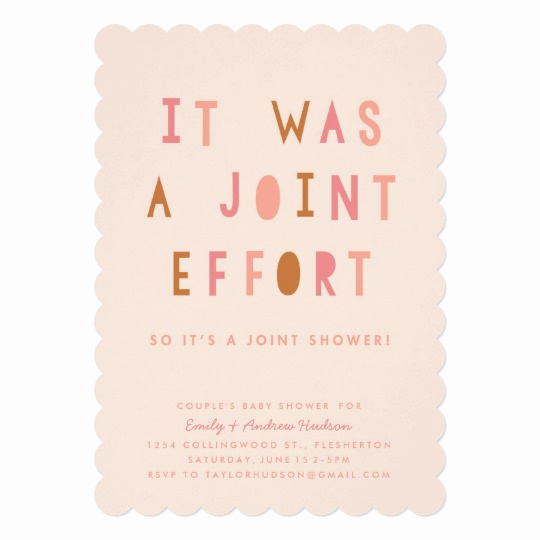 Joint Baby Shower Invitation Wording Beautiful Joint Effort Couple S Baby Shower Invitation Blush