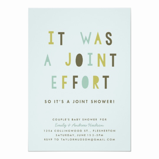 Joint Baby Shower Invitation Wording Beautiful Joint Effort Couple S Baby Shower Invitation