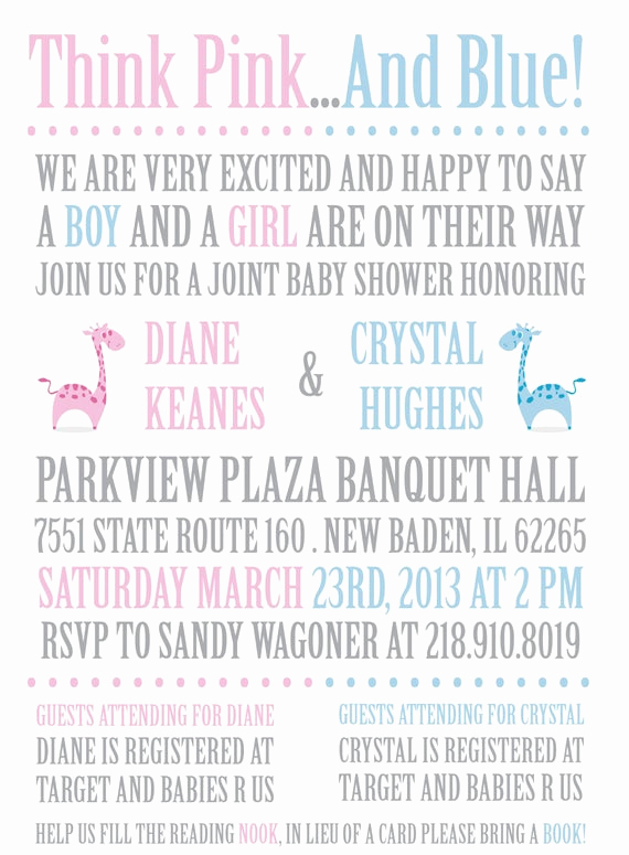 Joint Baby Shower Invitation Wording Beautiful Joint or Twins Baby Shower Invitation