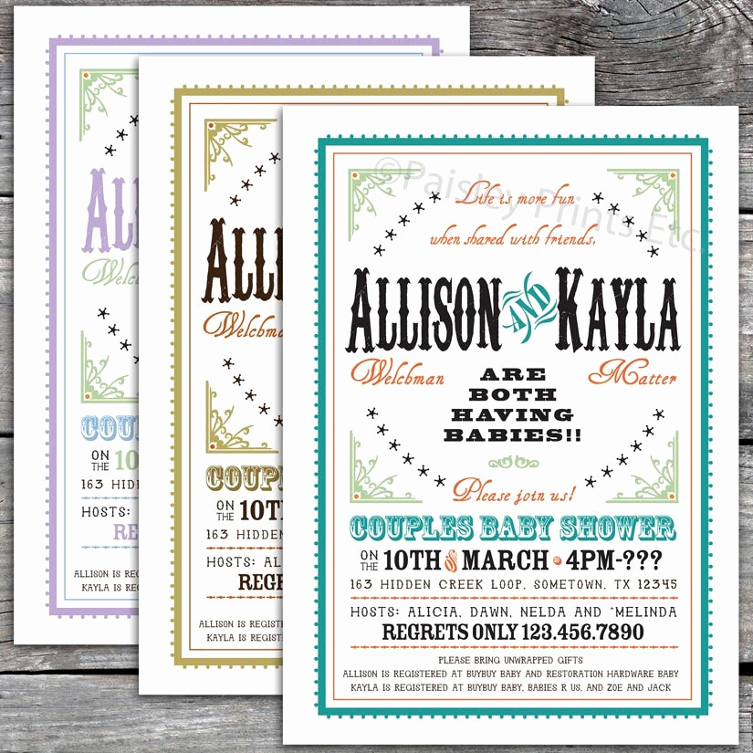 Joint Baby Shower Invitation Wording Beautiful Western Chic Joint Couples Baby Shower by Paisleyprintsetc