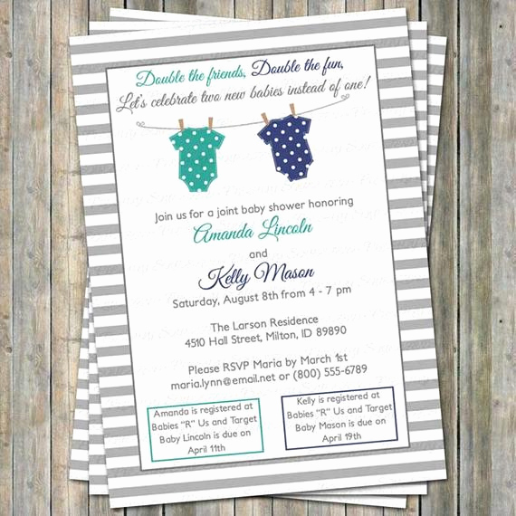 Joint Baby Shower Invitation Wording Inspirational Joint Baby Shower Invitation Polka Dot Onesies Two Boys