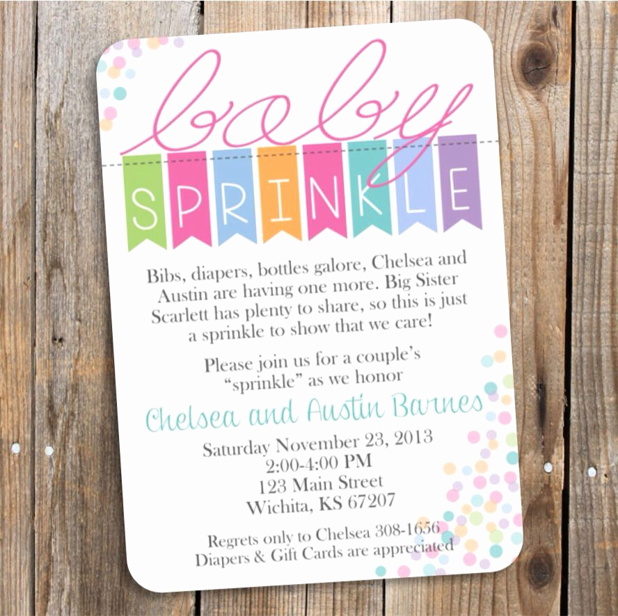 Joint Baby Shower Invitation Wording New Baby Sprinkle Invitation Oh Baby