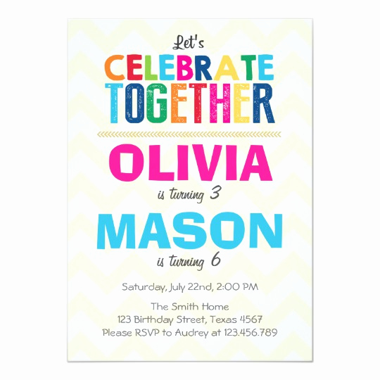 Joint Graduation Party Invitation Wording Awesome Joint Twin Birthday Party Invitation