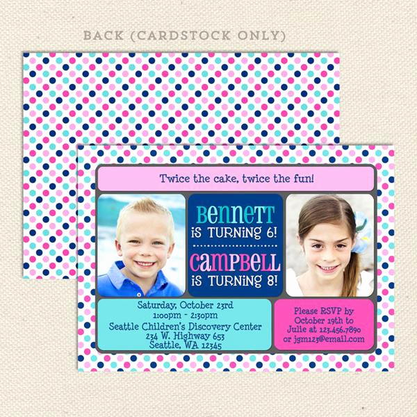 Joint Graduation Party Invitation Wording Beautiful Double the Fun Joint Birthday Party Invitations – Lil
