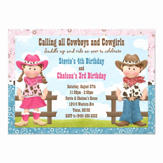 Joint Graduation Party Invitation Wording Lovely Cowboy and Cowgirl Joint Sibling Birthday Party Invitation