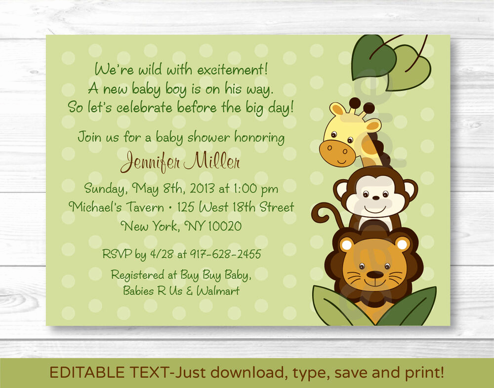 Jungle Baby Shower Invitation Beautiful Jungle Animals Safari Friends Printable Baby Shower