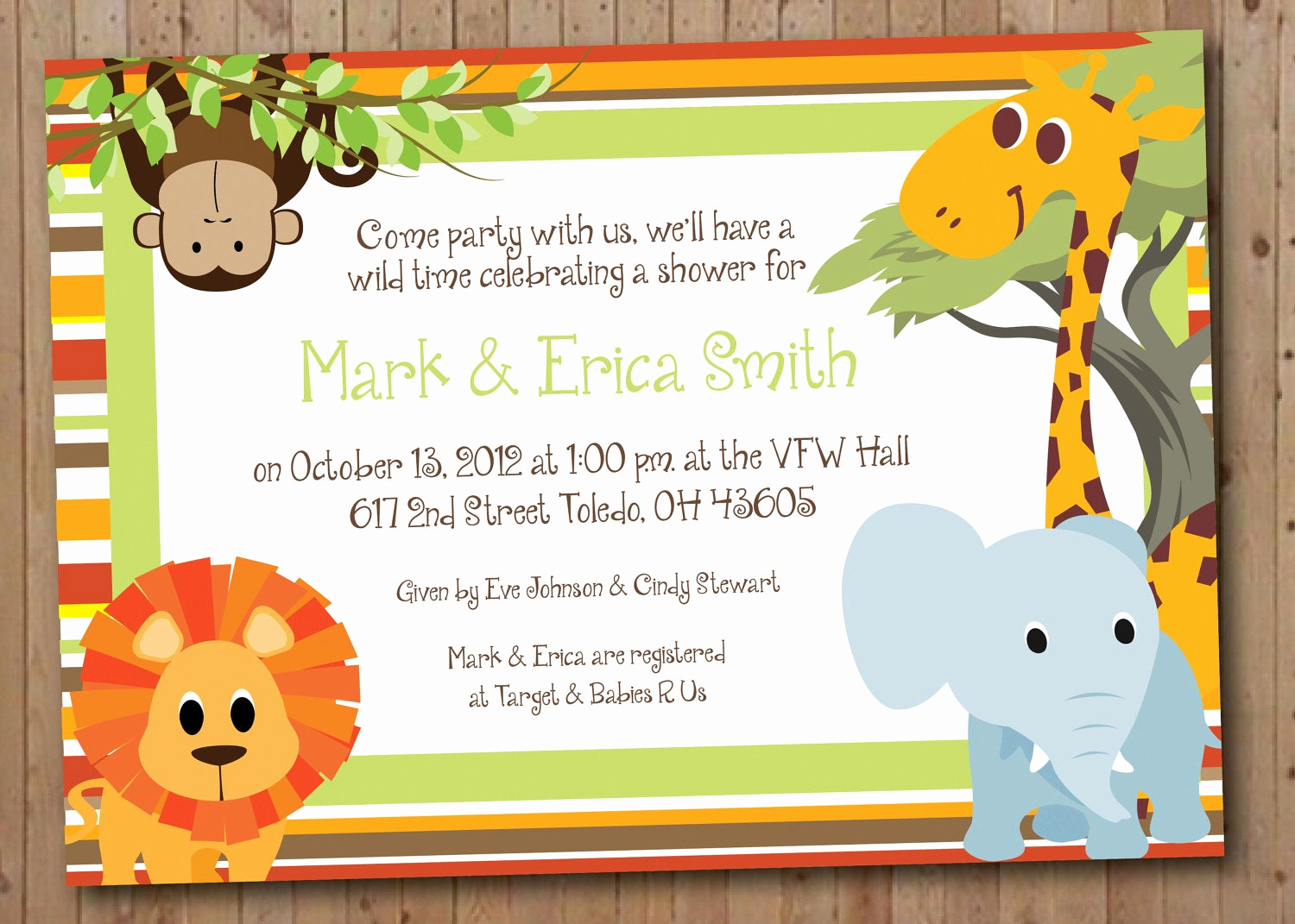 Jungle Baby Shower Invitation Beautiful Safari Baby Shower or Birthday Party Invitation by