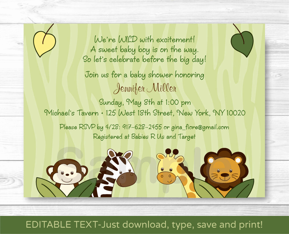 Jungle Baby Shower Invitation Beautiful Safari Friends Jungle Animals Printable Baby Shower