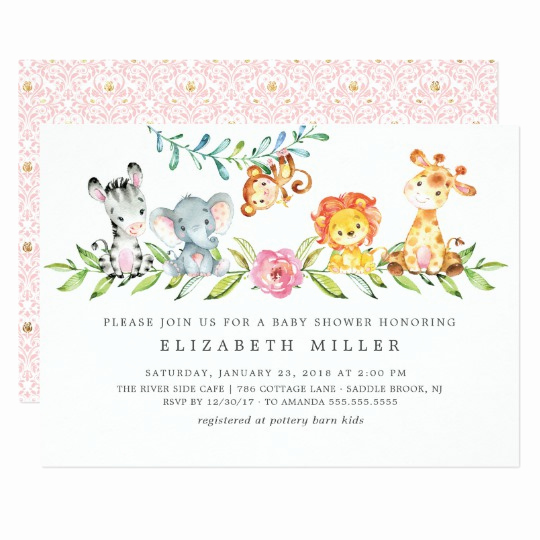 Jungle Baby Shower Invitation Beautiful Sweet Safari Animals Baby Shower Invitation