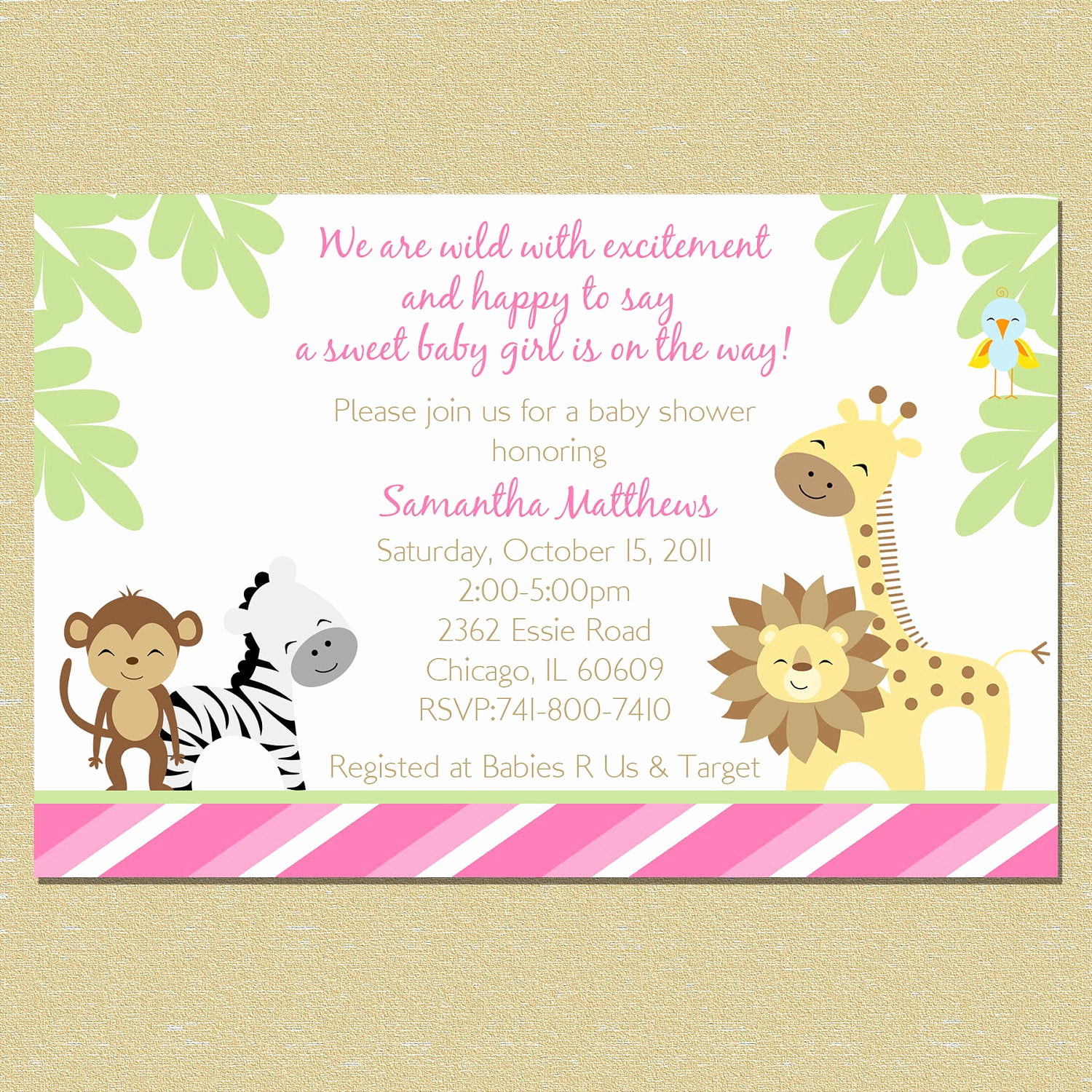 Jungle Baby Shower Invitation Best Of Pink Jungle Baby Shower Invitation Girl by