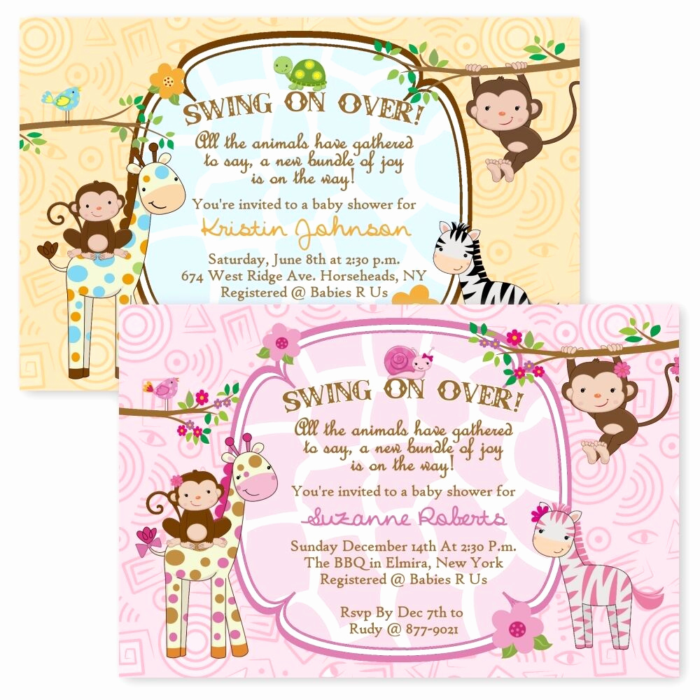 Jungle Baby Shower Invitation Elegant Jungle Baby Shower Invitations Girl Boy Twin Giraffe