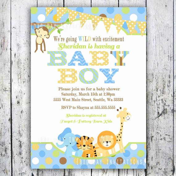 Jungle Baby Shower Invitation Fresh Safari Baby Shower Invitations Jungle Animal theme Printable
