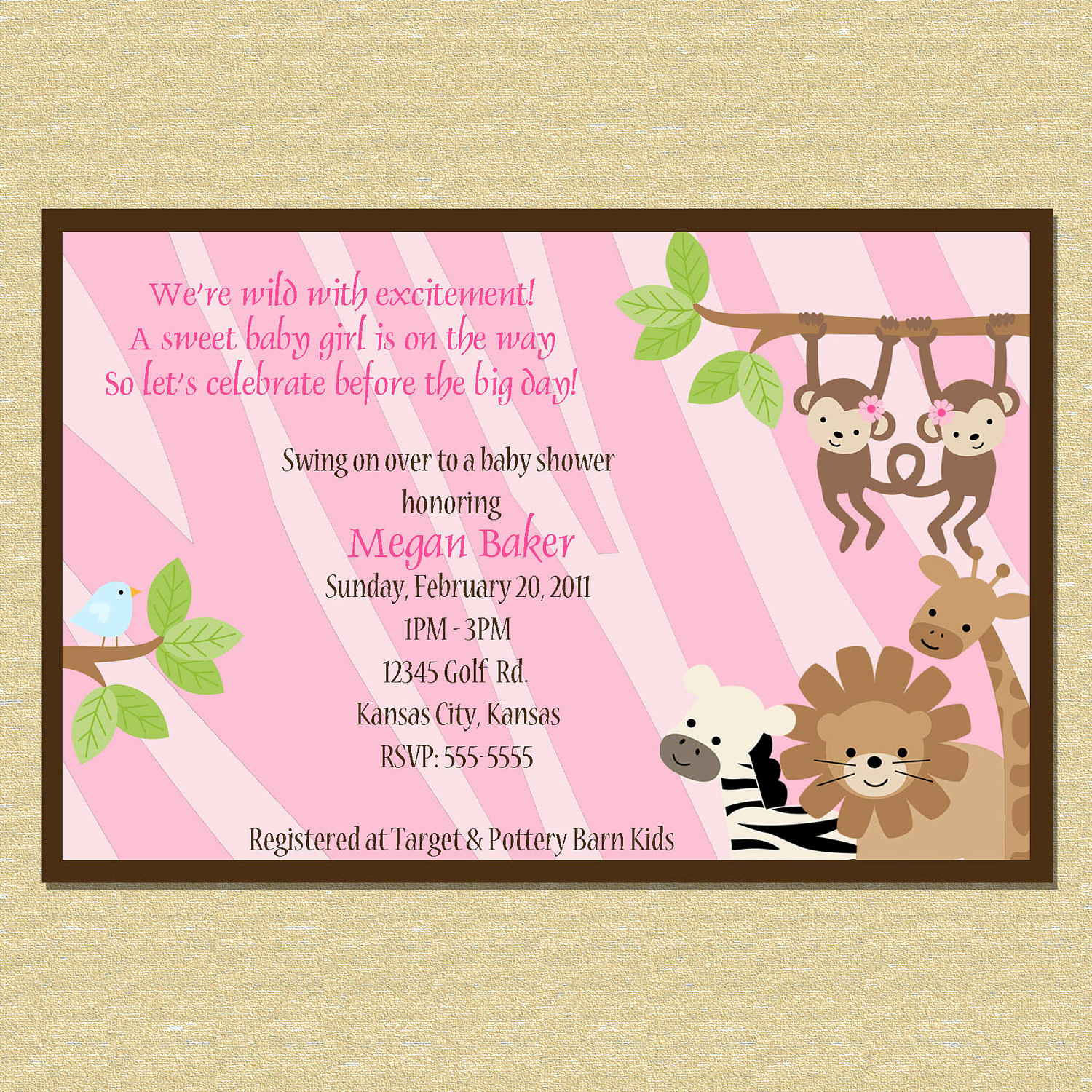 Jungle Baby Shower Invitation Fresh Safari Pink Zebra Print Jungle Baby Shower by