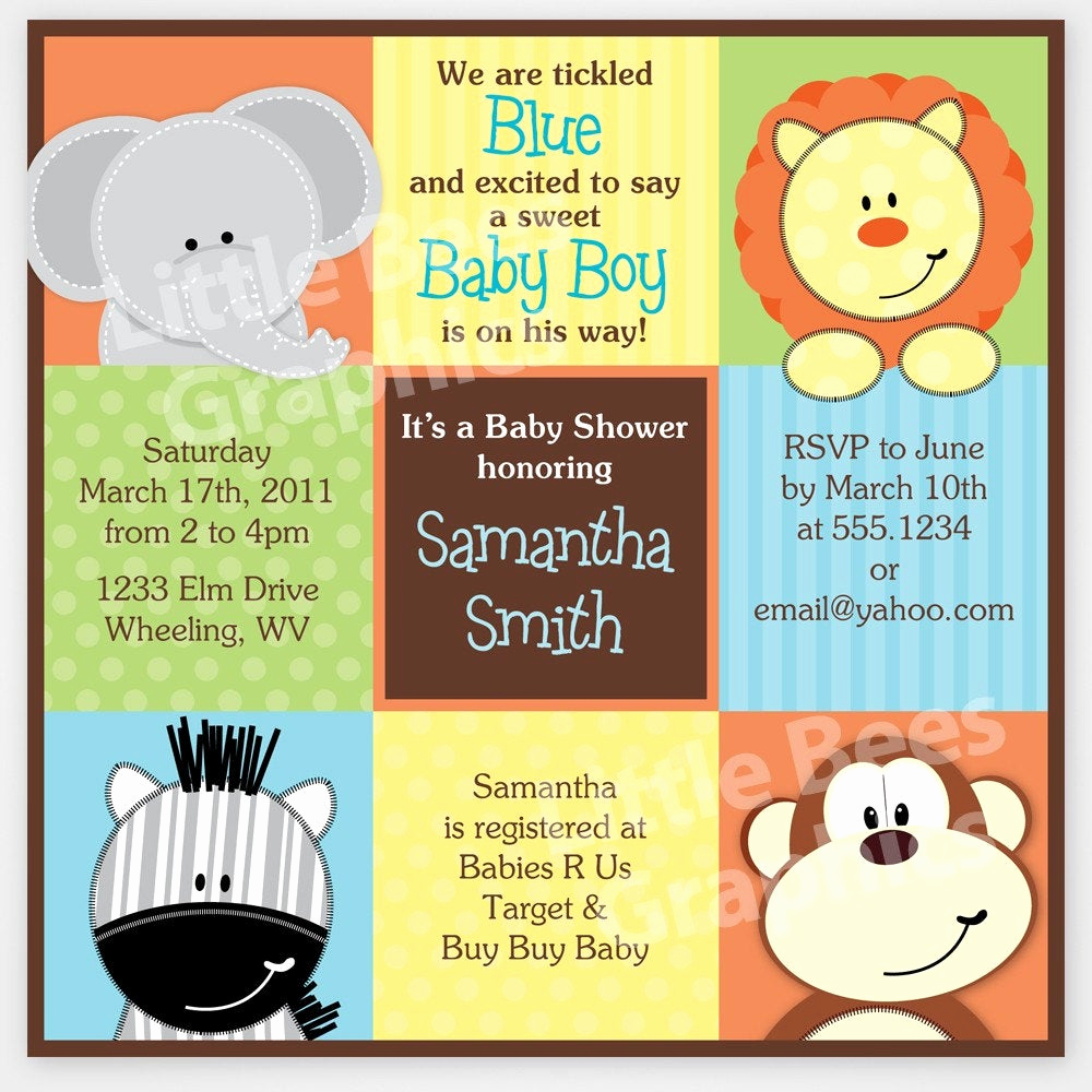 Jungle Baby Shower Invitation Fresh Stylish Jungle Animals Printable Baby Shower by