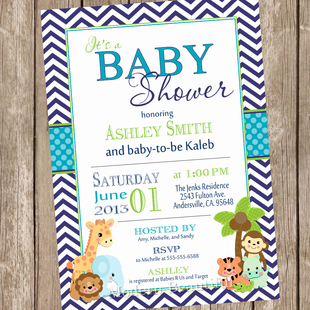 Jungle Baby Shower Invitation Inspirational Boy Jungle Baby Shower Invitation Jungle Chevron Teal