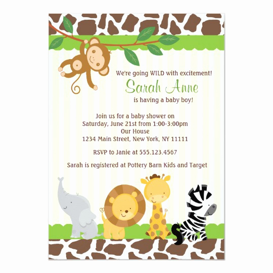 Jungle Baby Shower Invitation Inspirational Safari Jungle Baby Boy Shower Invitation