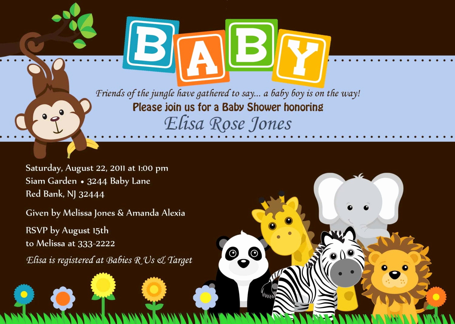 Jungle Baby Shower Invitation Lovely Baby Shower Invitation Animal Safari Jungle Baby by